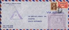 (Philippines) F/F FAM 14, Manila to Singapore, b/s, Pan Am Company corner cover franked 36c, large purple F/F cachet, nice strike  violet triangular Singapore censor markcensored airmail cover, Pan Am.