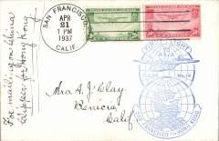 (United States) Trans Pacific F/F FAM 14 flown at new reduced 70c rate, by 'China' then 'Hong Kong' Clipper, San Francisco to Hong Kong, bs 28/4, blue flight cachet, b/s, par avion etiquette, pain cover, cover, Pan Am