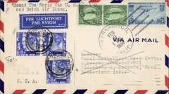 """(United States) Possible Pan Am/KLM 'test' flight, endorsed """"Round the World Via US and Dutch Air Lines"""", San Francisco - Manila 1/3 - Batavia 11/3 - Newark, NJ 28/3, airmail cover addressed to KNILM Airways Batavia, franked 75c US stamps canc San Francisco Feb 9, 1936, then re-addressed to Newark, NJ and refranked Netherlands Indies 45c canc Batavia 12/3 cds, tying Dutch AV5 'Per Luchtpost/Par Avion' airmail etiquette. The first regular airmail flight from San Francisco to Manila was 10 weeks earlier on Nov 22, 1935. Interesting."""