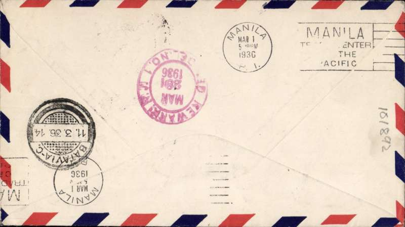 "(United States) Possible Pan Am/KLM 'test' flight, endorsed ""Round the World Via US and Dutch Air Lines"", San Francisco - Manila 1/3 - Batavia 11/3 - Newark, NJ 28/3, airmail cover addressed to KNILM Airways Batavia, franked 75c US stamps canc San Francisco Feb 9, 1936, then re-addressed to Newark, NJ and refranked Netherlands Indies 45c canc Batavia 12/3 cds, tying Dutch AV5 'Per Luchtpost/Par Avion' airmail etiquette. The first regular airmail flight from San Francisco to Manila was 10 weeks earlier on Nov 22, 1935. Interesting."