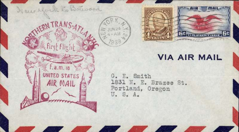 (United States) Pan Am FAM 18 F/F New York-Botwood, b/s, magenta official cachet on front.