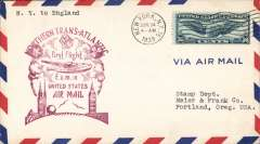 (United States) Pan Am FAM 18 F/F New York-London, no b/s, (mail arriving London was not back stamped, Vol 3, AAMC, 2004), magenta official cachet on front.