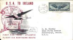 (United States) Pan Am FAM 18 F/F Northern Transatlantic Route, New York to Foynes, attractive and uncommon cover franked 30, large official magenta flight cachet on front and violet diamond arrival cachet verso.