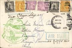 (United States) First US acceptance for China for carriage on the inaugural FAM 14 Trans Pacific 'China Clipper' flight from San Francisco to Manila, New York to a Catholic Mission in Pingnam, Nwangsi Province, via Manila 29/11, Hong Kong 5/12, and Tsangwl/Wuchow, plain cover franked $1.50 tied New York postmark, official green F/F cachet, blue 'wavy line' Airmail hs's front and back. Superb routing. Ironed vertical fold.