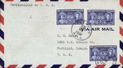 (Newfoundland) Pan Am F/F FAM 18 Northern Route, Botwood to New York, green cachet, air cover.