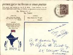 """(India) Joan Page flight, Dum Dum-Naihati-Dum Dum, souvenir envelope, franked 1 anna, canc Dum Dum 25/6, bs 25/6, printed """"ANOTHER LINK IN THE HISTORY OF INDIAN AVIATION / This cover was carried by the D H Moth Lady Jackson by the first BRITISH LADY pilot of INDIA on the date shown on the postmark, and under the heading THE HERALDS OF THE DAWN are listed names of lady fliers around the world, also the name Joan Page within map of India with Union Jack, 1929 and the names of lady supporters. A B&W picture 11x5cm (not photo), of a DH Moth, similar to that flown by Joan Page, accompanies this item"""