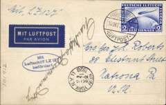 "(Airship) First Trans-Atlantic crossing of the Graf Zeppelin to Lakehurst, New York 16/10 arrival ds on front, oval blue flight cachet, printed ""Mit Luftschiff LZ 127/ab Friedrichshafen"" souvenir B&W photocard showing LZ 1277 moored beside its hangar,  franked 2Rm Zeppelin stamp (Stanley Gibbons # 444, cat £47 used), tied Friedrichshafen. cds. The card is signed by Lady Drummond Hay, the only woman on this first transatlantic flight of the Graf Zeppelin. In 1929 she then flew on the Graf Zeppelin's ""Orient Flight"" to Palestine and also on its historic Round-the-World flight,"