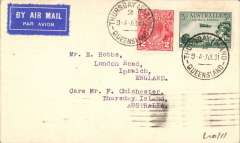 """(Australia) Francis C. Chichester, one of  only 145 covers carried on his First Long Distance Seaplane Solo and First Solo Flight from Australia to Japan, bs Japan 6/9/5, via Manila 24/7, franked 3d canc Thursday Island cds 27/7, six line authentication cachet verso, and signed """"Francis C. Chichester"""" confirms the crash in Japan. The cover is in superb condition."""
