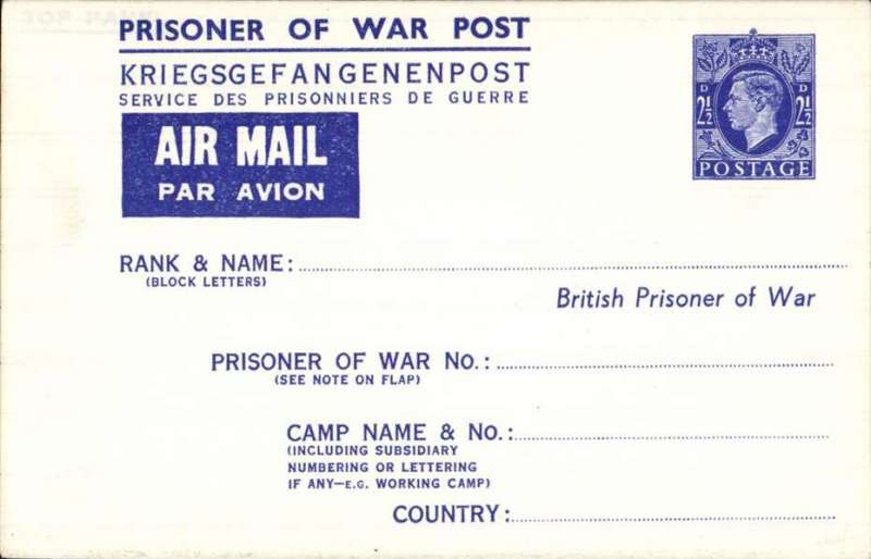 "(GB External) British Prisoner of War Post/Kriegsgefangenenpost/Service des Prisonniers de Guerre, unused air letter sheet, blue tablet ""Air Mail/Par Avion"", important warning about the POW number, blue/white, franked imprint 2 1/2d KGVI, bottom flap."