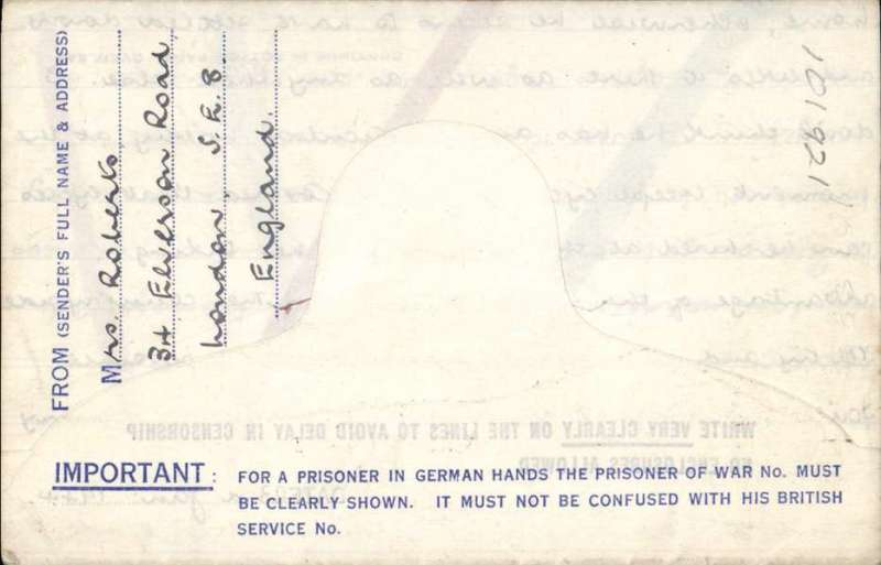 "(GB External) British Prisoner of War Post/Kriegsgefangenenpost/Service des Prisonniers de Guerre, addressed to an army sapper at Camp M-Stammlager IVF J2, Germnay, blue tablet ""Air Mail/Par Avion"", with important warning about the POW number, blue/white, franked imprint 2 1/2d KGVI airmail letter sheet.