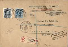 (Belgium) Ostende to London, bs 2/5/27, reistered (label) cover franked 2F5c canc Ostende cds, black framed bilingual 'Par Avion' hs, typed 'Per Flugpost'. Flown by Sabena on their Brussels-Ostende-London serice which opened in 1923.