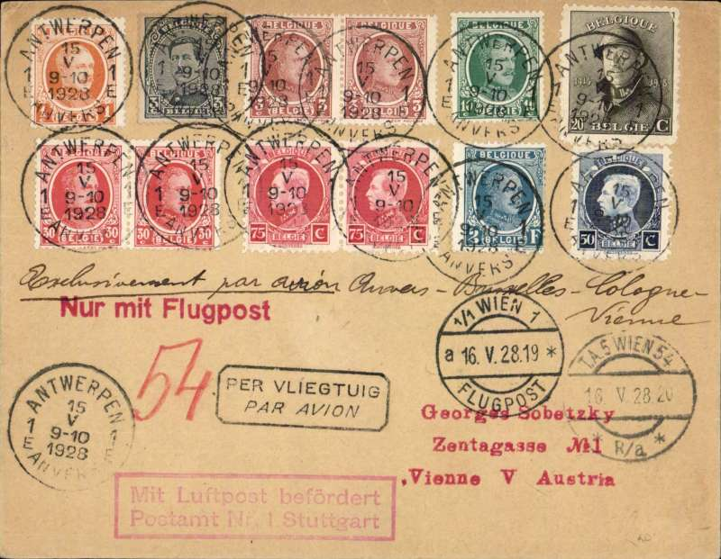 (Belgium) Antwerp to Vienna, 15/5 arrival ds on front, scarce F/F of the Antwerp-Vienna leg of the Ostend-Brussels (Antwerp)-Koln-Munich- Wien service, plain cover franked 4F90c, canc Antwerpen 15.V.28, red 'Nur Mit Flugpost, red framed 'Mit Luftpost befordert/Postampt Nr 1 Stuttgart, and black framed bilingual 'Per Vliegtuig' hand stamps. See flight 28.15 'Der Flugpost von Osterreich', RF Kohl 1998, Cat 700 Punkt (£260 GBP).