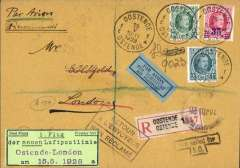 "(Belgium) Unlisted inaugural flight Ostende to London, bs London Hooded 15 My 28 registered arrival ds, registere (label) cover franked 2F50 canc Ostende 15.5.1928, black/green First Flight Premier Vol/1. Flug/der neuen Luftpostlinie/Ostende-London/am 15.5.1928"" (The new airmail line/Ostende-London),   blue/black trilingual airmail etiquette,"