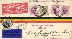 (Belgium) F/F Brussels to Koln - (Zurich), Koln 2/5 arrival ds on front, Sabena black/orange/yellow souvenir cover franked 70c, dark blue/black airmail etiquette,