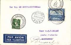 (Belgium) F/F Le Zoute to Rotterdam, bs 1/7 , franked 85c, tied special cancel, KLM.