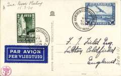 (Belgium) 2nd Antwerp Meeting, franked 50c air canc special cds, B&W ppc addressed to England with picture of  Antwerp airport.. Francis Field authentication hs verso.
