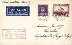 (Belgium) Guy Hansez survey flight, round trip, Brussels-Leopoldville(bs 28/3), plain cover franked Belgium 5Fair and 1.5F ordinary, red boxed official flight cachet, dark blue/white etiquette, ms 'Raid aviateur Hansez'. Flight financed by Sabena, Antwerp Aviation, and the Ministry of Transport.