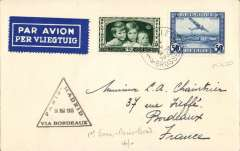 (Belgium) Belgium acceptance for F/F Paris 14/5 to Bordeaux, bs 15/5 leg of the inaugural Air France/LAPE Paris-Madrid service, plain cover franked 85c, black triangular 'Paris/Bordeaux/Madrid/15 Mai 1935' flight cachet. LAPE, Spanish Postal Airlines (Lםneas Aיreas Postales Espaסolas), was the Spanish national airline during the Second Spanish Republic