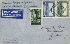 (Belgium) F/F Brussels to Zinder (NIger) leg of the inaugural Air Afrique, Marseilles to Brazzaville service, Van Reet cover correctly franked Belgium 35c postage and 2F50 airmail fee, verso Paris 23/2 transit cds, and Niger 4/3 arrival cds.
