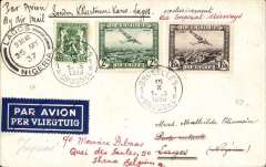 "(Belgium) First Belgium acceptance for the Imperial Airways Kano-Lagos extension of the London-Nigeria service, Brussels to Lagos, bs 26/10, via Paris, 19/10, plain cover, franked 3F 85c, ms ""Par Avion London-Khartoum-Kano-Lagos/ exclusvement Via Imperial Airways"", dark blue/white etiquette, ref Godinas 1951, and Jennekens and Godinas 1969."