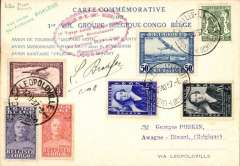(Belgium) Phalene Missionary Flight Belgium-Congo, and return, Brussels to Leopoldville, 6/11, and return, 12/11, to Awant-Dinant, commemorative 'Phalene' card in French with map of route verso, franked 3.30F Belgian and 3.30F Congo stamps, green two line 'Phalene' cachet, and scarcer red toothed oval flight cachet. SIGNED BY THE PILOT PIERRE BRADFER. Nice item.