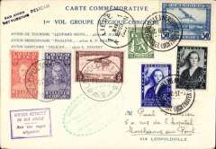 (Belgium) Pelican Missionary Flight Belgium-Congo, and return, Brussels to Leopoldville and return, 5/11, commemorative 'Pelican' card in French with map of route verso, franked 3.30F Belgian and 3.30F Congo stamps, green and purple cachets.