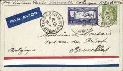 (France) Sarce first night flight, Paris to Brussels, airmail cover franked   2F25k