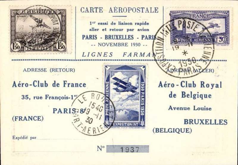 (France) Paris-Brussels-Paris, special card with French and Belgian stamps, Expo Paris and Brussels cds's, and special Expo stamp canc Le Bourget cds, boxed rectangular Aero Club de France cachet verso.