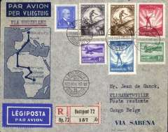 (Belgium) Hungary acceptance for the Sabena F/F extension of the regular service Brussels to Elisabethville, bs 23/11, registered (label) souvenir cover franked 247f canc Budapest LegipostaNov 15 cds. An uncommon accetance in fine condition.