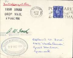 """(GB Internal) Royal Air Force Christmas 1950 mail Drop to Ocean Weather Ship 'Weather Recorder', plain cover franked GB 2 1/2d, postmarked Glasgow 20 Dec 1950, val Weather Ship's handstamp and signed by the Shipp's Master, Capt. A.W.Proud, also black three line """"1950 Xmas/Drop Mail/29 Dec 1950"""" handstamp, and red ms 'For Delivery at Sea'. Only ten such covers flown."""
