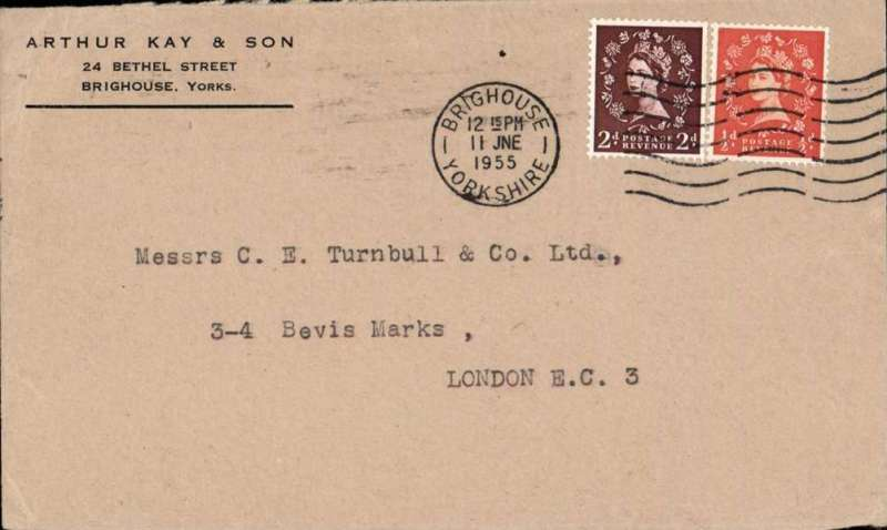 (GB Internal) Railway Strike Mail, cover fown fom Linton on Ouse to Northolt, no arrival ds, plain cover franked 2 1/2d canc Brighouse/11 Jne.1955/ Yorkshire'.Scarce, ex Stratton. Includeed are a neat hand drawn map, and info on the four emergency mail routes.