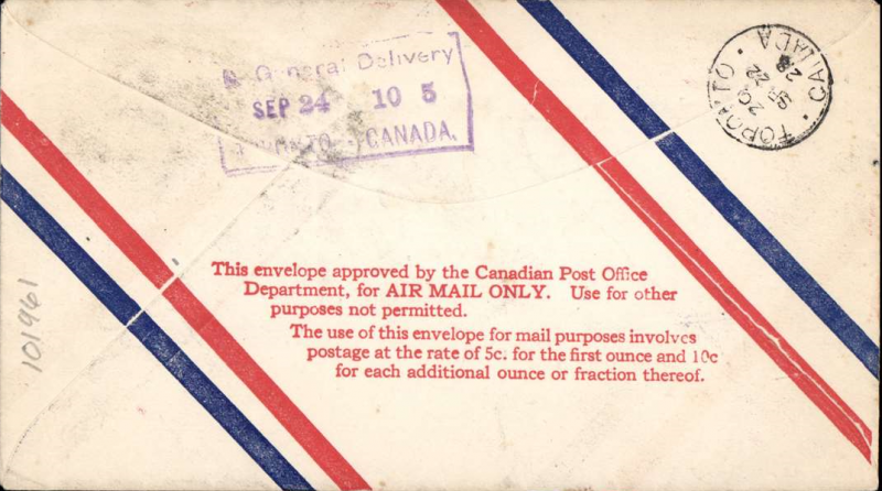 (Canada) F/F Montreal to Toronto, bs 22/9, airmail cover franked Canada's First Airmail Stamp 5c, official boxed flight cachet, see The Airmails of Canada and Newfoundland, cat #2845a.