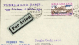 (Tunisia) First direct flight Tunis to Paris, bs, via Ajaccio, franked 1F50 canc Tunis pmk tying pale blue/black airmail etiquette, violet two line and blue four line flight cachets.