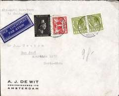 "(Netherlands ) Inward to Costa Rica from Amsterdam via New York, commercial corner cover franked 52 1/2c, canc Amsterdam cds, bs San Jose 26/4, airmail etiquette, typed ""Air Mail New York/to Costa Rica"". By surface to New York, thn US air service to Coata Rica."