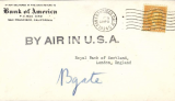 "(United States) San Francisco to London, Bank of America corner cover franked 10c, fine strike large black straight line ""By Air In USA"" hs."