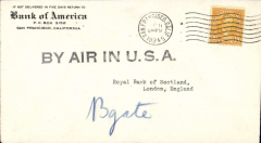 """(United States) San Francisco to London, Bank of America corner cover franked 10c, fine strike large black straight line """"By Air In USA"""" hs."""