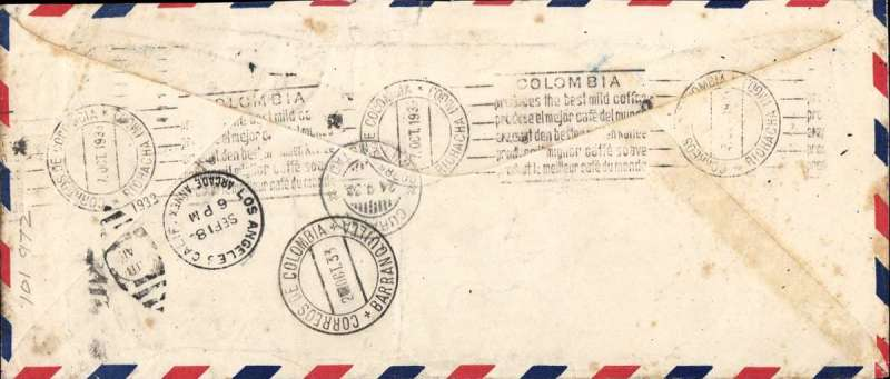 (United States) WA Films Incorporated, Hollywood, flown by airmail Special Delivery to Curacao, 24/9 and on to Riohacha, Colombia, 7/10, via Barranquilla 2/10, underpaid airmail cover, 24x10cm, franked 60c and 20c Special Delivery stamp, canc Los Angeles cds, violet 'Returned For Postage' and 'Postage Due (ms 7) cent' handstamps. WA Films was incorporated in New York in 1925 and, in 1930, produced, among others, 'Africa Speaks' which was filmed on location in the Belgian Congo. Interesting item