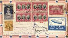 (Airship) Scarce acceptance of mail for Guatemala for carriage on the USN Airship 'Akron' coast to coast flight from Lakehurst to San Diego, airmail cover franked 25c, canc Lakehurst May 6, 1932, official rectangular flight cachet on front and oval violet flight cachet verso, blue/white airship label (tiny edge scuff), San Diego May 11 cds, and black Guatemala receipt backstamps verso. Slight  toning along lh edge, see scan. Great item.