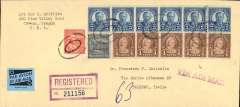 (United States) Portland, Oregon to Rome, b/s, registered (hs) cover, 22x10, franked coil strip of 5c x6, and coil strip of 4c x5, one 4 1/2c coil and 1/2c ordinary, tied with dumb cancellation, Jun 23, 1953 depart cds verso, and Chicago AMF Jun 24 transit verso, violet 'Via Air Mail' hs, and blue/black airmail etiquette.