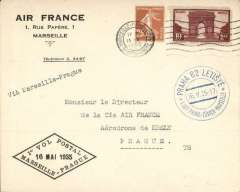 (France) F/F Marseilles to Prague, 16/5 arrival ds on front, Air France company corner cover franked 2f 25, canc Marseille-Gare-Avion cds, black diamond flight cachet.
