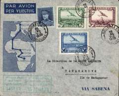 (Belgium) Sabena, first direct flight from Brussels to Elisabethville, bs 21/11, then OAT by Regie Malgache toTananarive, Madagascar, bs 24/11, souvenir cover franked  9F 25, canc Bruxelles 15/11 cds, green framed bilingual flight cachet on front.