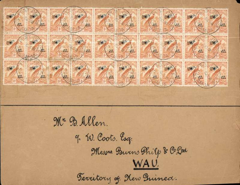 (Papua and New Guinea) Salamoa to Wau airmail, no arrival ds, envelope, 20x26cm, franked block of 30x 1931 1/2 air with black plane and 'air mail' overprint, cat SG 30 x £3.25 = £97.50.