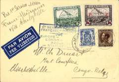 (Belgium) Trans-Sahara airmail, F/F Air Afrique, new itinerary, Algiers to Madagascar via Stanleyville instead of Brazzaville, airmail etiquette card correctly franked 75 for PC overseas postage and 3F50 airmail surcharge, special framed flight cachets, blue on front and red verso.