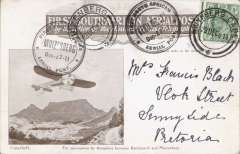 (South Africa) First South African Aerial Post, first outward flight Kenilworth to Muizenberg, souvenir card franked Transvaal 1/2d (for local mail), canc Wynberg Cape/28 Dec 11 cds, alongside are a Kenilworth Dec -27-11 special postmark, and a Muizenberg Dec-27-11 special postmark tied by Muizenberg post office 28.Dec.11 arrival cds. Lovely item.