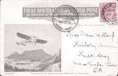 "(South Africa) First South African Aerial Post, first return flight card, Muizenberg to Kenilworth,  franked Cape of Good Hope 1d canc Kalk Bay  26th Dec 11 cds alongside special Muizenberg ""aerial post"" cachet of Dec 27.  Slight scuffing verso, otherwise a F-VF card from this flight on which only 210 were carried and very few survive. Rare."