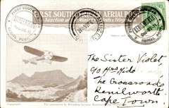 (South Africa) 1911 First South African Aerial Post, second outward flight  Kenilworth to Muizenberg, souvenir card with date error franked Cape of Good Hope 1/2d, tied by Kenilworth Dec 27 special postmark, alongside a Muizenberg Dec-30 special postmark ,and a Muizenberg 3 Jan arrival cds. When originally posted, a small number of second outward flight cards, such as this one, mistakenly received a 'Dec 27' (date of first flight) instead of the correct 'Dec 30' cachet. No more than 15 such are thought to exist, ref Arrow N. pers. com., and South African Airmails, 2nd Ed, Arrow N. # A.12.1a (i). Fine.