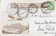 (South Africa) 1911 First South African Aerial Post, second outward flight with Kenilworth date error, Kenilworth to Muizenberg, souvenir card franked Cape of Good Hope 1/2d, tied by Kenilworth Dec 27 special postmark, alongside a Muizenberg Dec-30 special postmark ,and  Muizenberg 3 Jan and Three Anchor Bay arrival date stamps. When originally posted, a small number of second outward flight cards, such as this one, mistakenly received a 'Dec 27' (date of first flight) instead of the correct 'Dec 30' cachet. No more than 15 such are thought to exist, ref Arrow N. pers. com., and South African Airmails, 2nd Ed, Arrow N. # A.12.1a (i). Slight wear around the edges, otherwise fine.