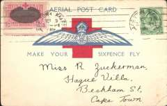 "(South Africa) 1918 Make Your Sixpence Fly, large Wings card prepared for the second flight Wynberg-Green Point  to Cape Town, franked ½d. and ""Our Day"" label, both tied by Cape Town Oct 9, 1918  machine cancellation. There is no 'Aerial Post' cachet, so it may not have been flown."