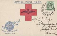 "(South Africa) 1918 Make Your Sixpence Fly, Germiston flightcard, addressed to Johannesburg, franked ½d. with fine strike ""aerial post"" (24 Nov 18) cancellation,"