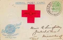 "(South Africa) 1918 Make Your Sixpence Fly, Benoni flight, franked ½d. with ""aerial post"" (1.12) cancellation; a little stained."